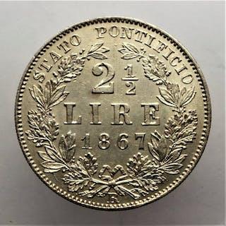 Vaticano - 2 1/2  Lire 1867 - Anno XXI - Pio IX - Argento