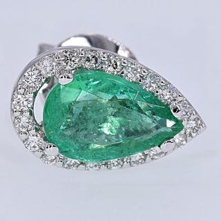 18 kt. White gold - Earrings - 2.83 ct Emerald - Diamonds