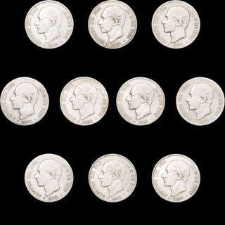 Spanien - Conjunto de 10 monedas de plata - 2 pesetas - Alfonso XII (10) 1882