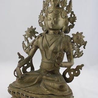 Grüne Tara Skulptur - Bronze - Nepal - Zweite Hälfte des 20. Jahrhunderts