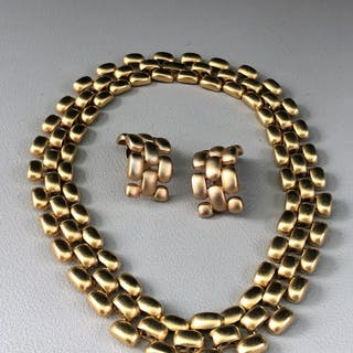 Triple 24kt chapado en oro. - Erwin Pearl P.E.P collar grande y aretes