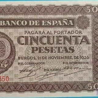 Spain - 50 pesetas Burgos1936 - Pick 100a