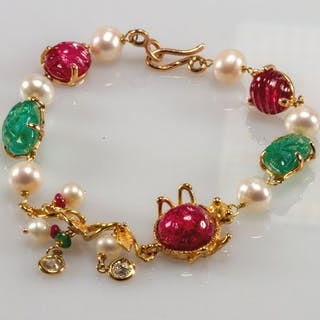 18 kt. Yellow gold - Bracelet - Diamonds, Jade, Pearls, Rubys, Tourmalines