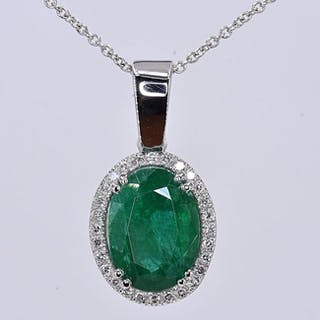 18 kt. White gold - Necklace - 5.15 ct Emerald - Diamonds