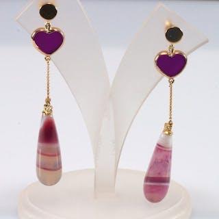 18 kt. Yellow gold - Earrings Musk agate - Diamonds, Purple Chalcedony