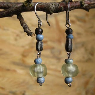 Ancient Roman Silver Earrings with Byzantine and Roman glass beads