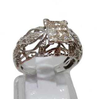 14 kt. Gold, White gold - Ring, 0.62 total cts Diamond - Diamonds