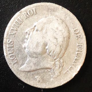 Frankreich - 5 Francs 1824-A Louis XVIII - Silber