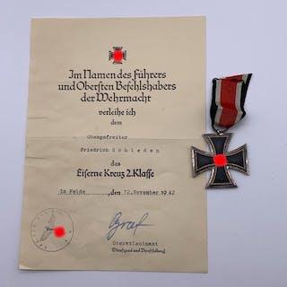 Deutschland - Eisernes Kreuz 2. Klasse 1939 mit Urkunde und Band- 1939