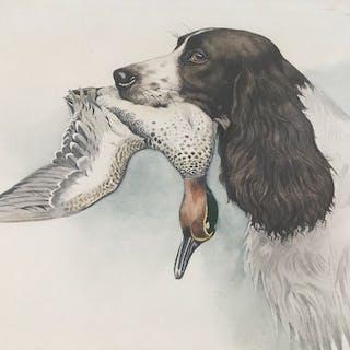 Riab - Boris Riabouchine (1898-1975) - English Springer with Duck