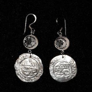 España - Pendientes de plata con dirham califal original...