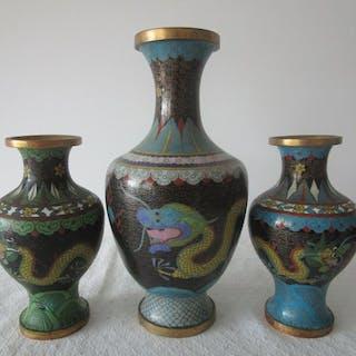 Vasen -Cloisonne mit Drachen China (3) - Bronze-Email - China - 2