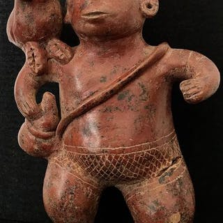 Pottery - Standing figure with parrot - Colima culture - Mexico