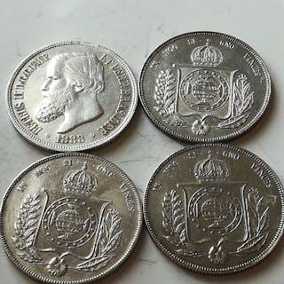Brasile - 1000 Reis 1855-1859-1861-1888 Pietro Il (4 coins)  - Argento