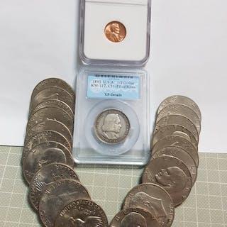 USA - Cent 1950-D + ½ Dollar 1893 'Columbia Expo'+...