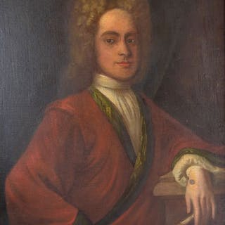 English school (18th century) - A wigged gentleman holding a book by Homer