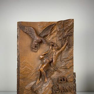 """Hermann Steiner (1878-1963) - Large wood carving - """"The..."""