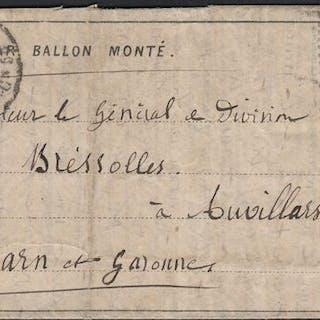 """Francia 1870 - """"Le Général Uhrich"""" balloon mail on..."""
