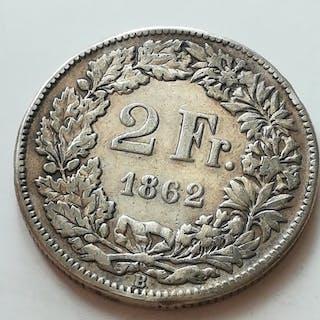 Schweiz Helvetica Konföderation - 2 Franchi 1862 B Bern