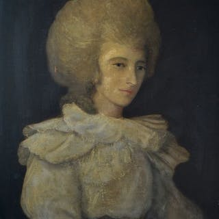 English school (18th century) - An unusual portrait of a lady in white