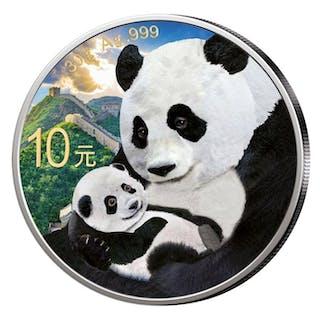 China - 10 Yuan 2019 'Panda, mit Baby' - 30 g - Silber