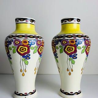 Charles Catteau per Boch Freres - Grande coppia di vasi Art Deco