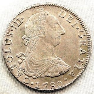 Spain - 8 Reales- 1780 - POTOSI - Carlos III - MUY ESCASA - Silver