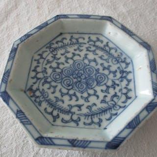Achteckige blaue Schale (1) - Porzellan - China - 19. Jahrhundert