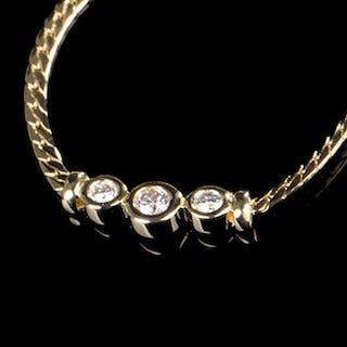 Collier- 14 kt. Yellow gold - Set Diamond