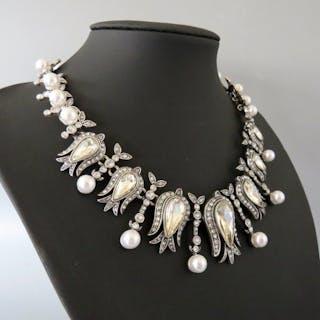 Oscar De La Renta - Crystal & faux pearl Halskette