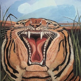 Antonio Ligabue(d'après) - Tête de tigre