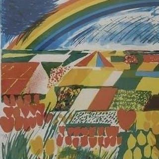 Jan Cremer - Bollenvelden met regenboog
