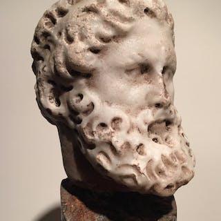 Roma antica Marmo testa di un uomo barbuto - 22.5×0×0 cm