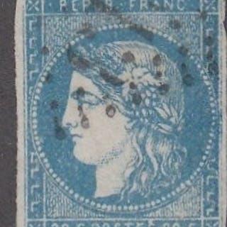Frankreich - Bordeaux issue - 20 centimes blue, Calves certificate - Yvert 44B