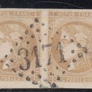 Frankreich - Bordeaux issue - 5 centimes green and 10 centimes bistre