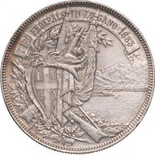 "Switzerland - 5 Francs1883""Tiro Federale"" Lugano (R) - Silver"