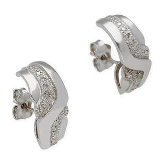 18 kt. Gold, White gold - Earrings - 0.25 ct Diamond