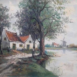 Jan Bakker (1879 - 1944) - Hollands landschap.