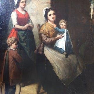 Pierre Joseph Toussaint (1822 - 1888) - Huiselijk gernetafereel