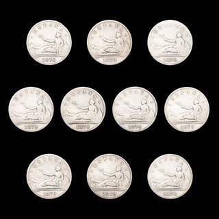Spanien - Conjunto de 10 monedas de plata - 2 pesetas...