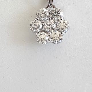 14 kt. White gold - Pendant - 1.34 ct Diamond