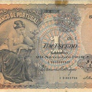 Portugal - 1 Escudo 29 Novembro 1918 - Pick 113b - Extremely Rare
