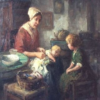 "Cornelis ""Kees"" Terlouw ( 1890 - 1948 ) - Scena di interno olandese"