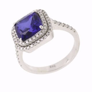 14 kt. White gold - Ring - 4.05 ct Sapphire - Diamonds