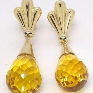 18 kt. Gold - Earrings Citrine