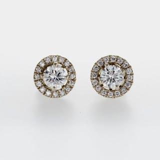 14 kt. Yellow gold - Earrings, 2 IN 1- 0.88 ct Diamond - D - VS2