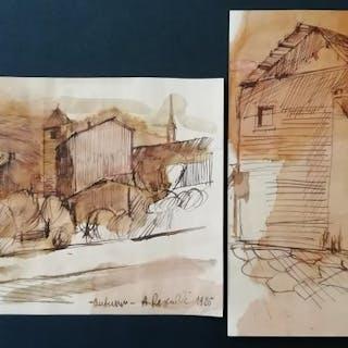 """D. Angelo Rescalli (1884-1956) - 2 disegni: """"Autunno"""" e """"Senza titolo"""""""