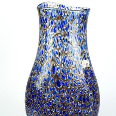 Mario Costantini (Murano) - Vaso Murrina esclusiva blu  1/1 - (cm 42) - Vetro
