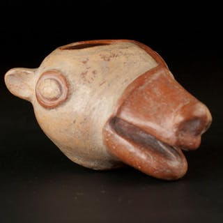 moche Earthenware Pre Colombian, vase in the shape of a lama head - 11×13×19 cm