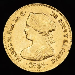 Spain - 4 escudos.- Isabel II (1833-1869) . 1865. Madrid - Gold